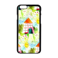 Summer House And Garden A Completely Seamless Tile Able Background Apple Iphone 6/6s Black Enamel Case by Simbadda