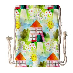 Summer House And Garden A Completely Seamless Tile Able Background Drawstring Bag (large) by Simbadda