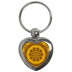 Fractal Yellow Kaleidoscope Lyapunov Key Chains (heart)  by Simbadda