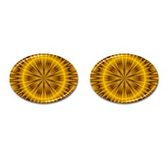 Fractal Yellow Kaleidoscope Lyapunov Cufflinks (oval) by Simbadda