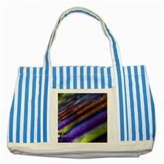 Fractal Color Stripes Striped Blue Tote Bag by Simbadda