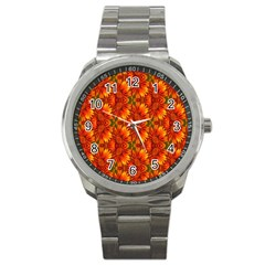 Background Flower Fractal Sport Metal Watch by Simbadda