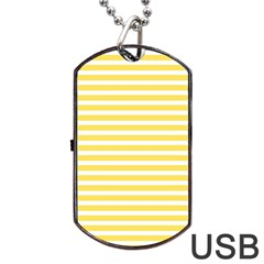 Horizontal Stripes Yellow Dog Tag Usb Flash (two Sides) by Mariart