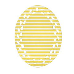 Horizontal Stripes Yellow Oval Filigree Ornament (two Sides) by Mariart