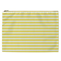 Horizontal Stripes Yellow Cosmetic Bag (xxl)  by Mariart