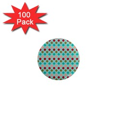 Large Colored Polka Dots Line Circle 1  Mini Magnets (100 Pack)  by Mariart