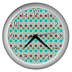 Large Colored Polka Dots Line Circle Wall Clocks (silver)  by Mariart