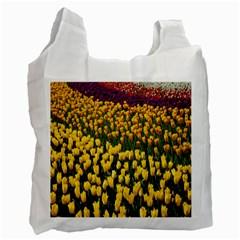 Colorful Tulips In Keukenhof Gardens Wallpaper Recycle Bag (one Side) by Simbadda