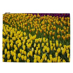 Colorful Tulips In Keukenhof Gardens Wallpaper Cosmetic Bag (xxl)  by Simbadda