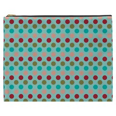 Large Colored Polka Dots Line Circle Cosmetic Bag (xxxl)  by Mariart