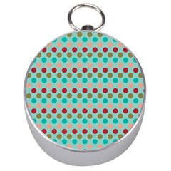 Large Colored Polka Dots Line Circle Silver Compasses by Mariart