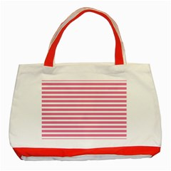 Horizontal Stripes Light Pink Classic Tote Bag (red) by Mariart