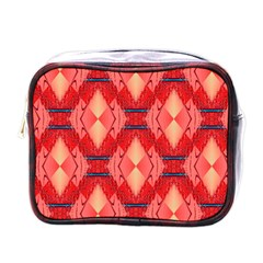 Orange Fractal Background Mini Toiletries Bags by Simbadda