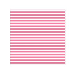 Horizontal Stripes Light Pink Small Satin Scarf (square) by Mariart