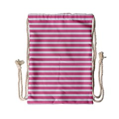 Horizontal Stripes Light Pink Drawstring Bag (small) by Mariart