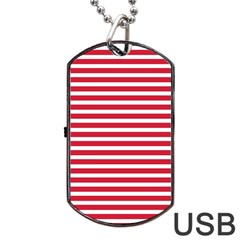 Horizontal Stripes Red Dog Tag Usb Flash (two Sides) by Mariart