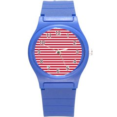 Horizontal Stripes Red Round Plastic Sport Watch (s) by Mariart