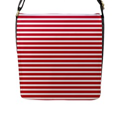 Horizontal Stripes Red Flap Messenger Bag (l)  by Mariart