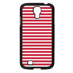 Horizontal Stripes Red Samsung Galaxy S4 I9500/ I9505 Case (black) by Mariart