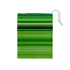 Horizontal Stripes Line Green Drawstring Pouches (medium)  by Mariart
