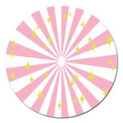 Hurak Pink Star Yellow Hole Sunlight Light Magnet 5  (round) by Mariart