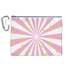 Hurak Pink Star Yellow Hole Sunlight Light Canvas Cosmetic Bag (xl) by Mariart
