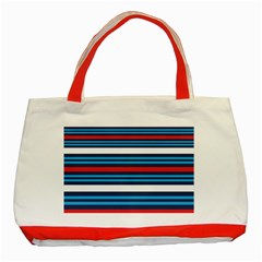 Martini Style Racing Tape Blue Red White Classic Tote Bag (Red) by Mariart