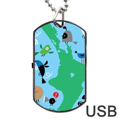 New Zealand Birds Detail Animals Fly Dog Tag Usb Flash (two Sides) by Mariart