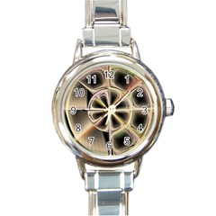 Background With Fractal Crazy Wheel Round Italian Charm Watch by Simbadda