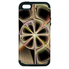 Background With Fractal Crazy Wheel Apple Iphone 5 Hardshell Case (pc+silicone) by Simbadda