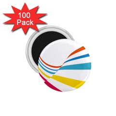 Line Rainbow Orange Blue Yellow Red Pink White Wave Waves 1 75  Magnets (100 Pack)  by Mariart