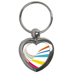 Line Rainbow Orange Blue Yellow Red Pink White Wave Waves Key Chains (heart)  by Mariart