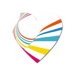 Line Rainbow Orange Blue Yellow Red Pink White Wave Waves Heart Magnet by Mariart