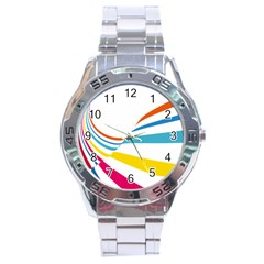 Line Rainbow Orange Blue Yellow Red Pink White Wave Waves Stainless Steel Analogue Watch by Mariart