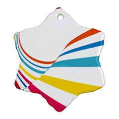 Line Rainbow Orange Blue Yellow Red Pink White Wave Waves Ornament (snowflake) by Mariart