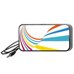 Line Rainbow Orange Blue Yellow Red Pink White Wave Waves Portable Speaker (black) by Mariart