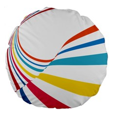 Line Rainbow Orange Blue Yellow Red Pink White Wave Waves Large 18  Premium Flano Round Cushions by Mariart