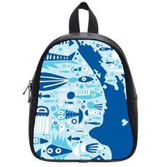 New Zealand Fish Detail Blue Sea Shark School Bags (small)  by Mariart
