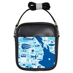 New Zealand Fish Detail Blue Sea Shark Girls Sling Bags by Mariart