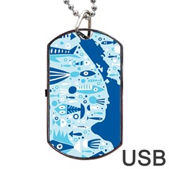 New Zealand Fish Detail Blue Sea Shark Dog Tag Usb Flash (one Side) by Mariart