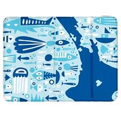 New Zealand Fish Detail Blue Sea Shark Samsung Galaxy Tab 7  P1000 Flip Case by Mariart