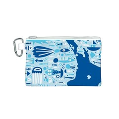 New Zealand Fish Detail Blue Sea Shark Canvas Cosmetic Bag (s) by Mariart