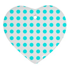 Polka Dot Blue White Ornament (heart) by Mariart