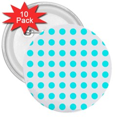Polka Dot Blue White 3  Buttons (10 Pack)  by Mariart