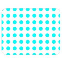 Polka Dot Blue White Double Sided Flano Blanket (medium)  by Mariart