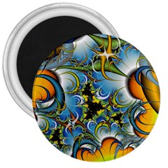 High Detailed Fractal Image Background With Abstract Streak Shape 3  Magnets by Simbadda