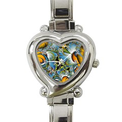 High Detailed Fractal Image Background With Abstract Streak Shape Heart Italian Charm Watch by Simbadda