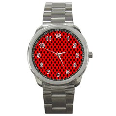 Polka Dot Black Red Hole Backgrounds Sport Metal Watch by Mariart