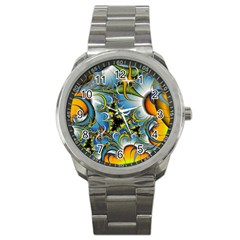 High Detailed Fractal Image Background With Abstract Streak Shape Sport Metal Watch by Simbadda