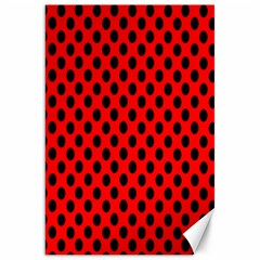 Polka Dot Black Red Hole Backgrounds Canvas 20  X 30   by Mariart